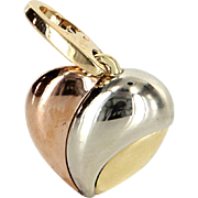 Cartier Puffed Heart Charm Vintage 18 Karat Tri Gold Estate Signed Jewelry Heirloom