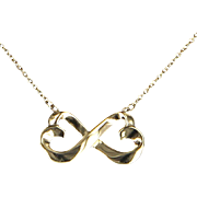 Tiffany & Co Double Heart Loving Necklace Estate 18 Karat Gold Paloma Picasso Jewelry