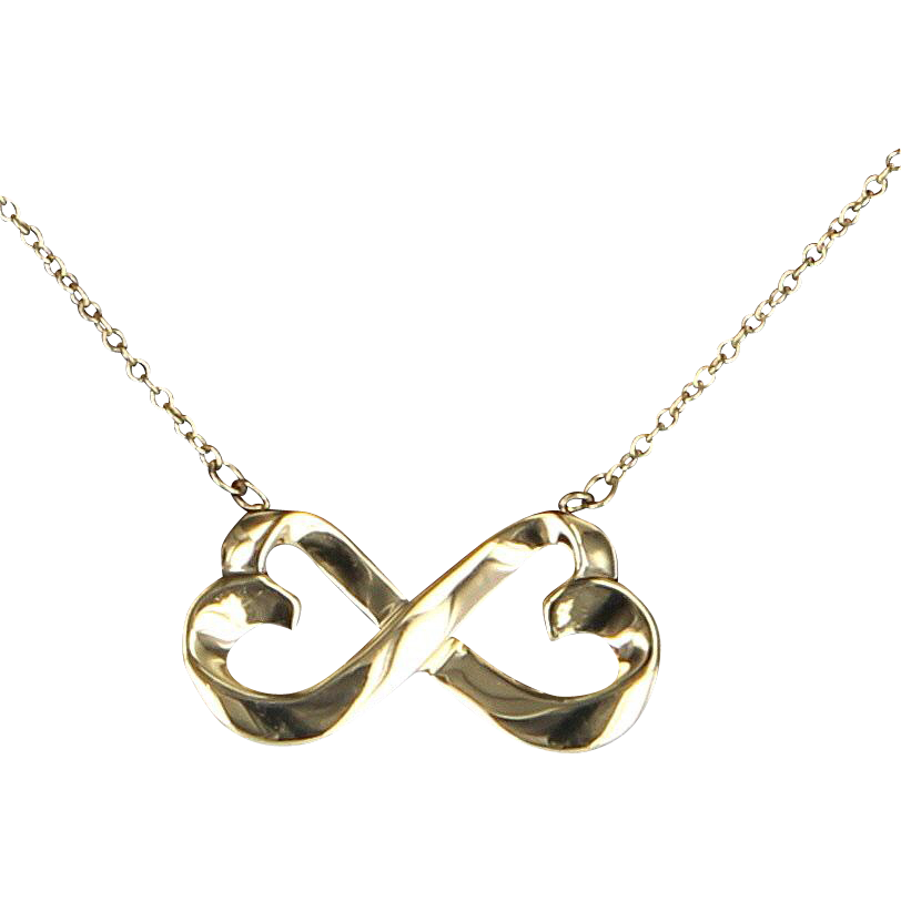Tiffany & Co Double Heart Loving Necklace Estate 18 Karat Gold Paloma Picasso Jewelry