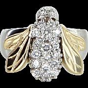 Diamond Bumble Bee Ring Vintage 14 Karat Gold Two Tone Estate Fine Jewelry 7.5