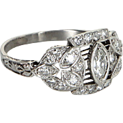 Vintage Art Deco Diamond 900 Platinum Filigree Ring Fine Jewelry Heirloom Estate