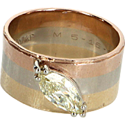 1ct Marquise Diamond Wide Band 14 Karat Tri Gold Ring Vintage Fine Jewelry Estate 7.25