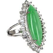 Certified A Grade Jadeite Jade Diamond Cocktail Ring Vintage 900 Platinum Estate