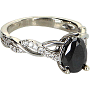 0.80ct Black Diamond Cocktail Ring Estate 14 Karat White Gold Pre Owned Jewelry