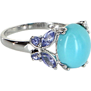 Turquoise Tanzanite Cocktail Ring Vintage 14 Karat White Gold Estate Fine Jewelry
