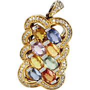 Rainbow Sapphire Diamond Pendant Vintage 14 Karat Gold Estate Fine Jewelry Pre Owned