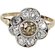Vintage Art Deco Champagne Diamond Cluster Ring 18k Gold Platinum Estate