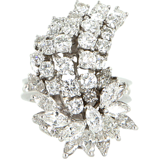 Vintage 3.52ct Diamond Cluster Cocktail Ring 14k White Gold Estate Jewelry