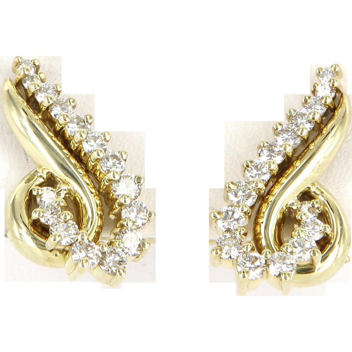 Vintage Jose Hess Diamond Clip Cocktail Earrings 14 Karat Gold