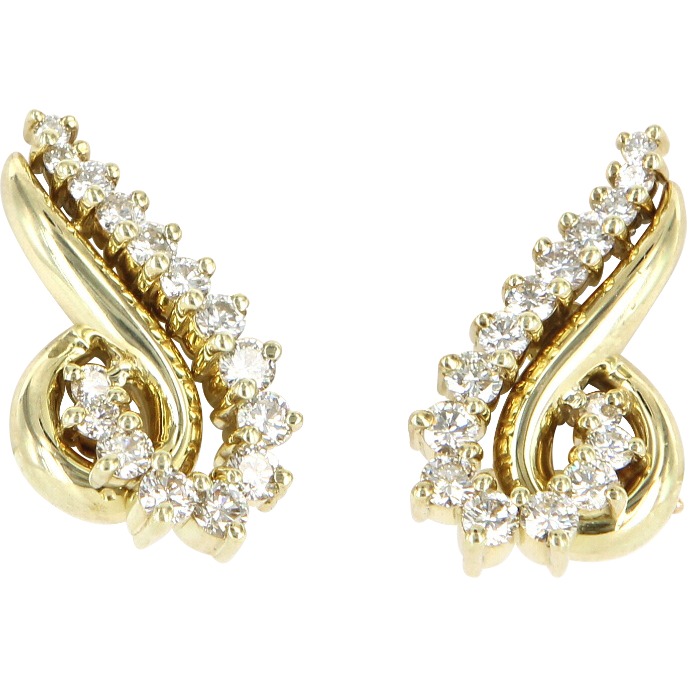 Vintage Jose Hess Diamond Clip Cocktail Earrings 14 Karat Gold Designer Jewelry