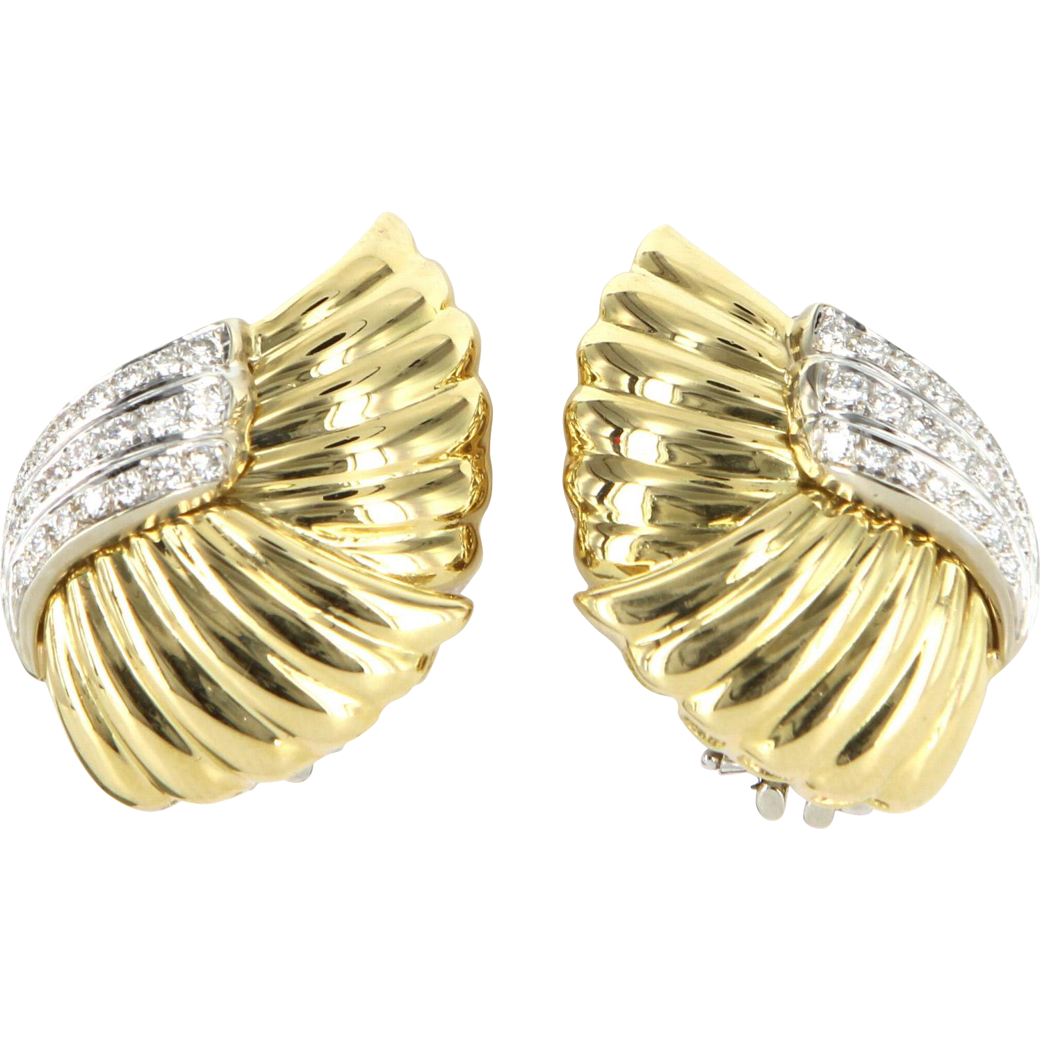 Vintage 1ct Diamond Clip Cocktail Earrings 18 Karat Yellow Gold Estate Fine Jewe