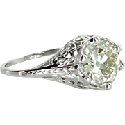 2.52ct OEC Diamond Belais Vintage Art Deco Filigree Engagement Ring Estate Fine Jewelry