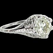 2.52ct OEC Diamond Belais Vintage Art Deco Filigree Engagement Ring Estate Fine Jewelry