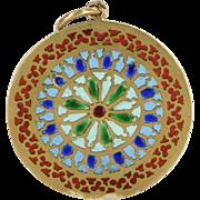 French Plique a Jour Antique Deco 18 Karat Gold Pendant Disc Vintage Fine Jewelry