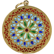 French Plique a Jour Antique Deco 18 Karat Gold Pendant Disc Vintage Fine Jewelry
