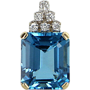 London Blue Topaz Diamond Pendant Vintage 14 Karat Yellow Gold Estate Fine Jewelry