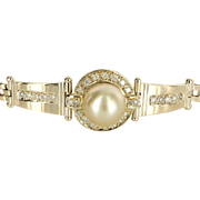 Golden South Sea Pearl Diamond Bracelet Vintage 14 Karat Yellow Gold Estate Jewelry