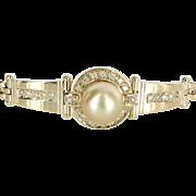 Golden South Sea Pearl Diamond Bracelet Vintage 14 Karat Yellow Gold Estate Jewelry