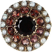 Garnet Seed Pearl Halo Cocktail Ring Vintage 18 Karat Gold Estate Fine Jewelry