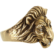 Mens Diamond Lion Ring Vintage 14 Karat Yellow Gold Estate Fine Animal Jewelry 10.5
