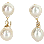 Baroque Pearl Drop Earrings Vintage 10 Karat Yellow Gold Estate Fine Jewelry Heirloom