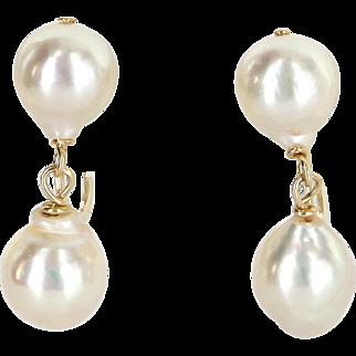 Baroque Pearl Drop Earrings Vintage 10 Karat Yellow Gold Estate Fine Jewelry Heirloom