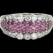 Pink Sapphire Diamond Band Ring Vintage 14 Karat White Gold Estate Fine Jewelry 9