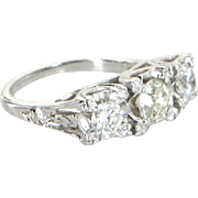 3 Diamond Trilogy Ring Vintage 14 Karat White Gold Estate Fine Jewelry Heirloom Sz 4