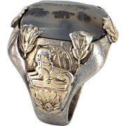 Ostby Barton Mens Ring Egyptian 925 Sterling Silver 10 Karat Gold Moss Agate Deco Vintage Jewelry
