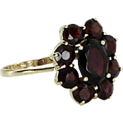 Garnet Cluster Ring Vintage 8 Karat Gold Germany Estate Fine Jewelry Heirloom