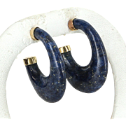 Lapis Lazuli Hoop Earrings Vintage 14 Karat Yellow Gold Estate Fine Jewelry Heirloom