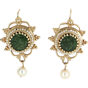 Jade Seed Pearl Drop Earrings Vintage 14 Karat Yellow Gold Estate Fine Jewelry