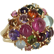 Rainbow Gemstone Cocktail Dome Ring Vintage 14 Karat Yellow Gold Estate Jewelry