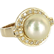12mm Golden South Sea Tahitian Pearl Diamond Cocktail Ring Vintage 14 Karat Gold
