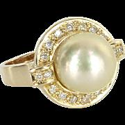 12mm Golden South Sea Tahitian Pearl Diamond Cocktail Ring Vintage 14 Karat Gold