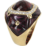 Rubellite Tourmaline Diamond Cocktail Ring Vintage 18 Karat Yellow Gold Estate Fine