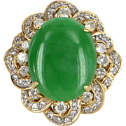 Large Jade Diamond Cocktail Ring Vintage 18 Karat Yellow Gold Estate Fine Jewelry
