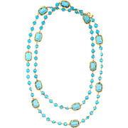"Chanel c1984 Vintage Long 68"" Sautoir Chicklet Necklace Blue Crystal Signed"