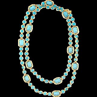 """Chanel c1984 Vintage Long 68"""" Sautoir Chicklet Necklace Blue Crystal Signed"""