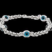Evil Eye Bracelet Estate 14 Karat White Gold Belcher Link Fine Vintage Jewelry