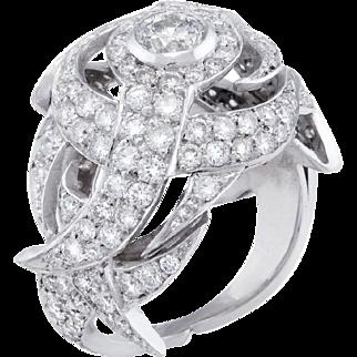 2.50ct Diamond Dome Cocktail Ring Vintage 18 Karat White Gold Estate Fine Jewelry 7.5
