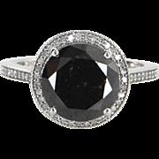 5ct Black Diamond Halo Engagement Ring Estate 10 Karat White Gold Jewelry Vintage
