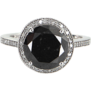 5ct Black Diamond Halo Engagement Ring Estate 10 Karat White Gold Jewelry Vintage
