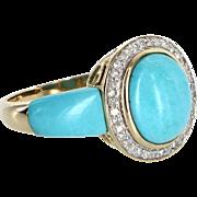 Turquoise Diamond Cocktail Ring Vintage 14 Karat Yellow Gold Estate Fine Jewelry