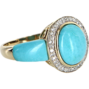 Turquoise Diamond Cocktail Ring Vintage 14 Karat Yellow Gold Estate Fine Jewelry
