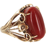 Mediterranean Red Coral Cocktail Ring Vintage 18 Karat Yellow Gold Estate Jewelry