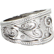 Wide Band Cigar Ring Estate 14 Karat White Gold Fine Vintage Jewelry Sz 7 Pre Owned