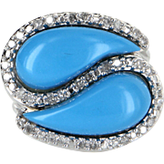 Turquoise Diamond East West Cocktail Ring Estate 10 Karat White Gold Fine Jewelry