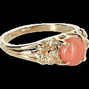 Coral Diamond Flower Stacking Ring Vintage 14 Karat Yellow Gold Estate Fine Jewelry