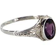 Antique Deco Amethyst Ring Child or Pinky Vintage 10 Karat White Gold Estate Jewelry